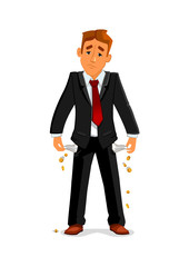 Bankrupt businessman with empty pockets © Vector Tradition