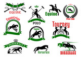 Horses with riders icons for equestrian design