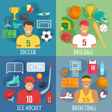 Soccer, baseball, hockey and basketball symbols