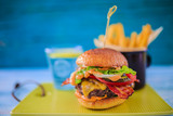Tasty street food grilled beef burger in crispy shortbread with