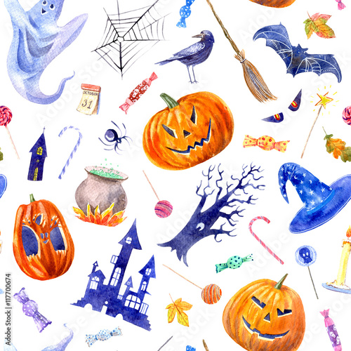 Cotton fabric seamless pattern with pumpkin jack-o'-lantern, lollipop,castle,bat,spider,broom,candle,tree,crow,autumn leaves and candy.halloween.watercolor hand drawn illustration.white background.