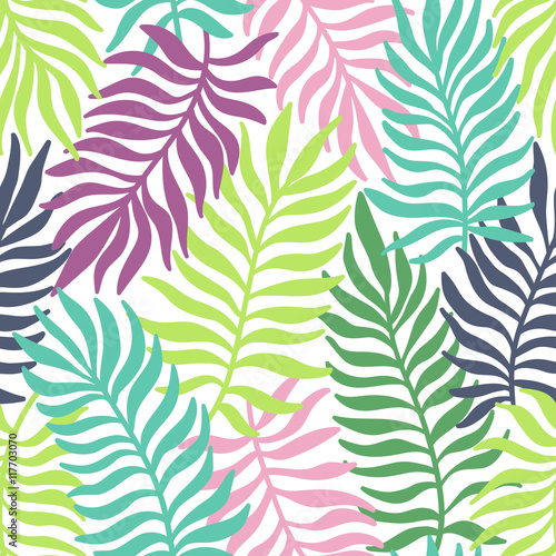 Tapeta Seamless exotic pattern with palm leaves