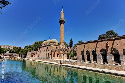 The Pool of Abraham in Sanliurfa is filled with carp fish with protected status Canvas Print