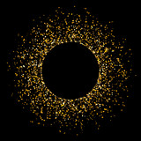 Fototapety Vector golden glitter background with copy space. Golden star dust glam circle.