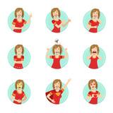 Emotion Body Language Illustration Set With Woman Demonstrating