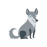 Grey Wolf Sitting Like A Dog Smiling
