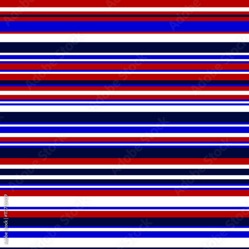 Fototapeta Simple colorful stripes seamless pattern in blue and red, vector