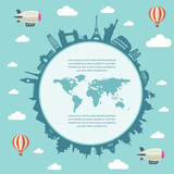 Fototapety Travel and tourism background and infographic elements. World map