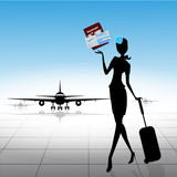 Stewardess with ticket and passport. Vector illustration