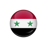 Flag of Syria. A round button with a glare. Round Flag emblem.