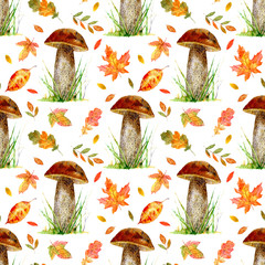 floral seamless pattern with boletus and autumn leaves.watercolor hand drawn illustration.white background.