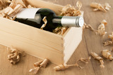 Wine bottle in wooden box