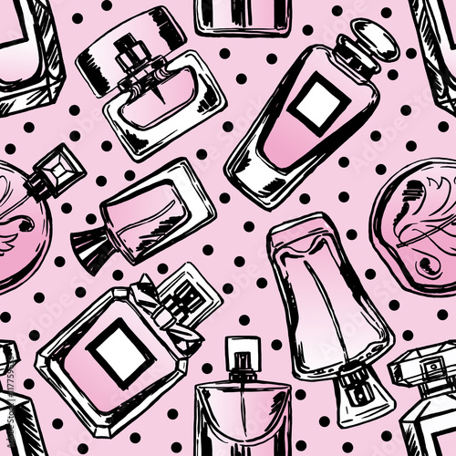 Cotton fabric Vector seamless perfume pattern.