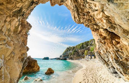 Zdjęcia na płótnie, fototapety, obrazy : Beautiful view over the sea beach in Corfu, Pelion, Mylopotamos, in summer season