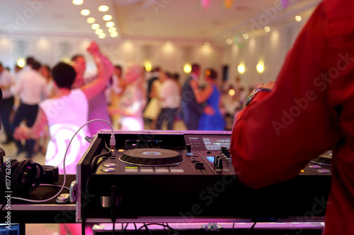 Poster Dancing couples during party or wedding celebration