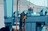 Mobile crane for handling boats.