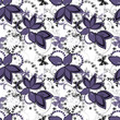 Abstract floral ornament seamless pattern on white