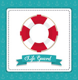 Sea lifestyle and life guard design represented by float icon over frame shape. Colorfull and flat illustration. Anchor background.