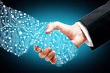 Digital handshake on blue background - 117769244