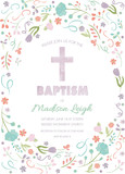 Baptism, Christening, First Communion Card Invitation Template with abstract flowers and cross