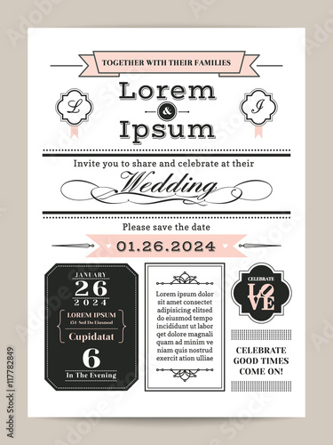 black and white monogram wedding invitation template