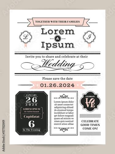 black and white monogram wedding invitation template