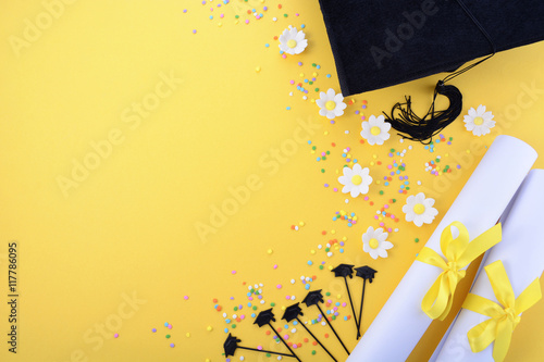 Poster Yellow black and white theme graduation background