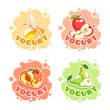 Four stickers with for yogurt with different fruits.