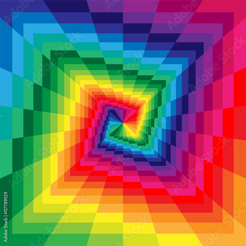 Vector Illustration. Colorful Spirals of the Rectangles Expanding from the Center. Optical Illusion of Perspective. Suitable for textile, fabric, packaging and web design. © nofretka