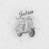 Hand drawn retro motorbike