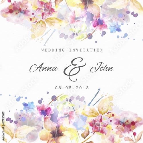 Fototapeta Floral wedding invitation in watercolor style