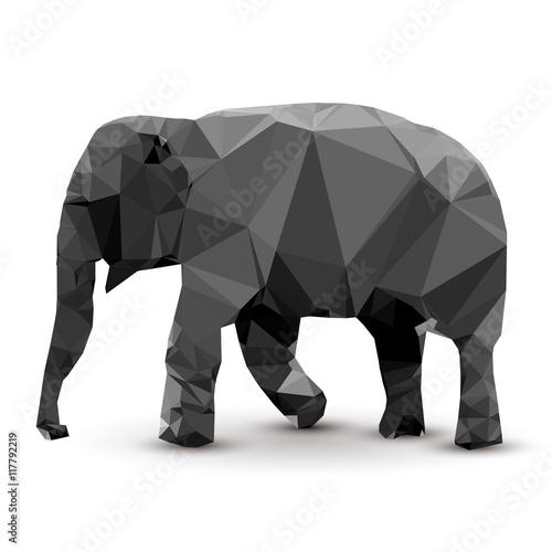 Poster, Tablou Polygonal elephant
