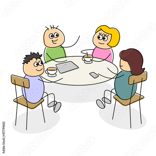 Cartoon business meeting having coffee at a table
