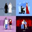 Couples 2x2 Flat Icons Set