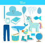 Fototapety Blue. Learn the color. Education set. Illustration of primary co