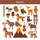 Fototapety Brown. Learn the color. Education set. Illustration of primary c