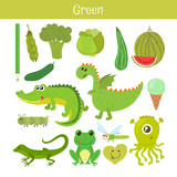 Fototapety Green. Learn the color. Education set. Illustration of primary c
