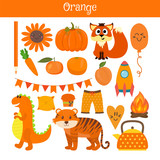Fototapety Orange. Learn the color. Education set. Illustration of primary