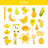 Fototapety Yellow. Learn the color. Education set. Illustration of primary