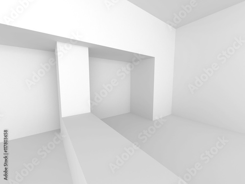 Abstract White Interior. Architecture Background