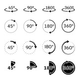 Angles 45, 90, 180 and 360 degrees vector icons set - 117805439