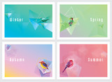 Fototapety Modern colorful four seasons wallpapers with geometric shapes and birds
