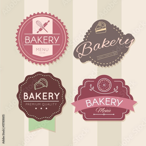 Retro bakery badges