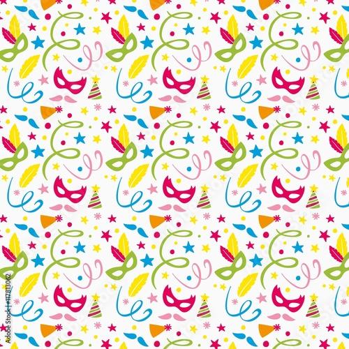 Cotton fabric Colourful masks and confetti pattern
