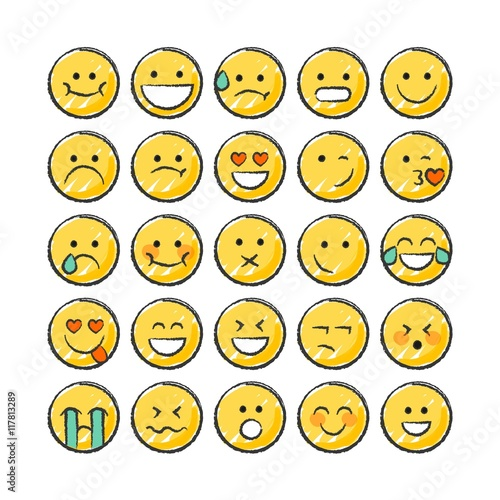 Hand drawn funny smiley collection
