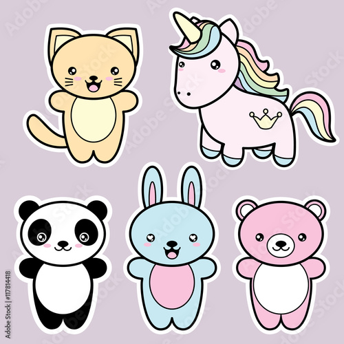 Set collection of cute kawaii style happy smiling animals. - 117814418