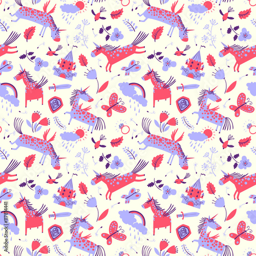 Cotton fabric Vector cute floral seamless pattern with magic unicorns