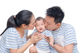 Young asian parent kissing their child isolated over white