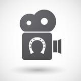Isolated retro cinema camera icon with  a horseshoe sign