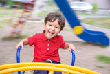 little boy riding a swing